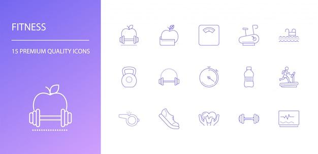 Conjunto de ícones de linha fitness.
