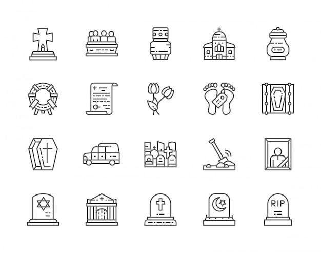 Conjunto de ícones de linha fúnebre.