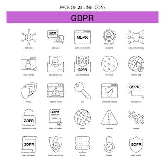 Conjunto de ícones de linha gdpr - estilo de estrutura de tópicos de 25 tracejado