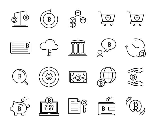Conjunto de ícones de linha, ícone de criptomoedas, coleção de ícone de blockchain, ilustração vetorial