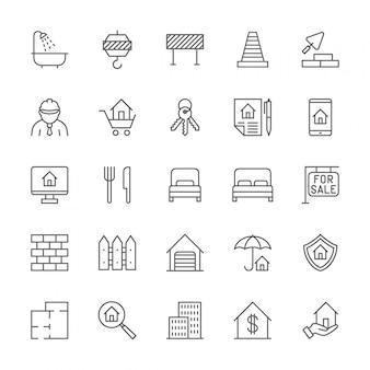 Conjunto de ícones de linha imobiliária.