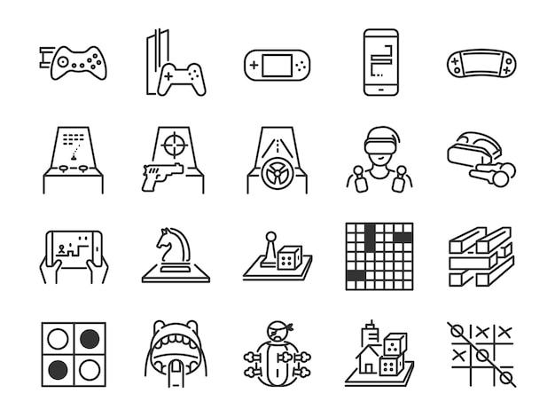 Conjunto de ícones de linha jogo e entretenimento.