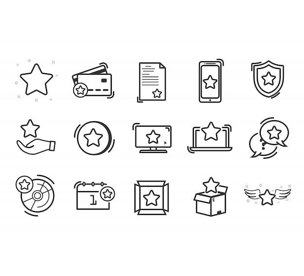 Conjunto de ícones de linha lealdade