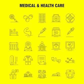 Conjunto de ícones de linha médica e de cuidados de saúde