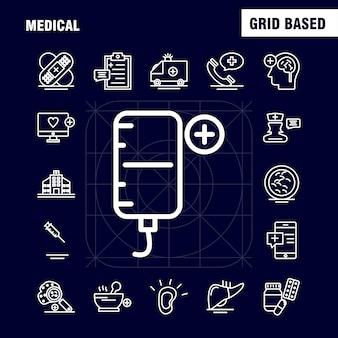 Conjunto de ícones de linha médica para infográficos