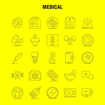 Conjunto de ícones de linha médica