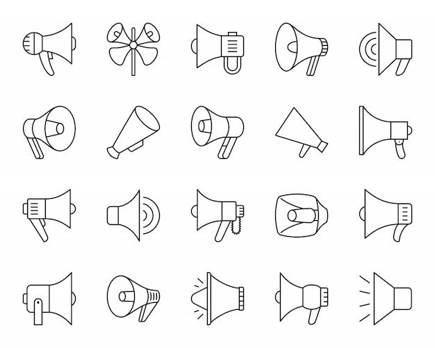 Conjunto de ícones de linha megafone, sinal de alto-falantes, marketing, bens de promoção, símbolo preto simples de megafone