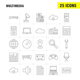 Conjunto de ícones de linha multimídia