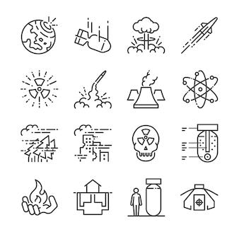 Conjunto de ícones de linha nuclear.