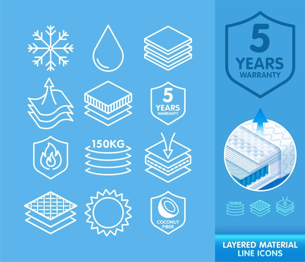 Conjunto de ícones de linha para materiais em camadas de representação esquemática
