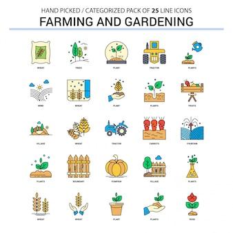Conjunto de ícones de linha plana agricultura e jardinagem