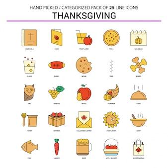 Conjunto de ícones de linha plana de ação de Graças