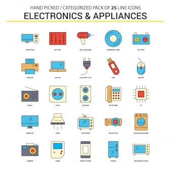 Conjunto de ícones de linha plana de aparelhos eletrônicos e eletrodomésticos