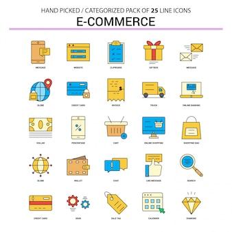 Conjunto de ícones de linha plana de comércio eletrônico
