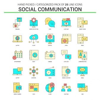 Conjunto de ícones de linha plana de comunicação social