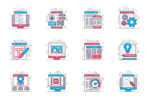 Conjunto de ícones de linha plana de conceito de design e desenvolvimento criação e otimização de sites para aplicativos móveis