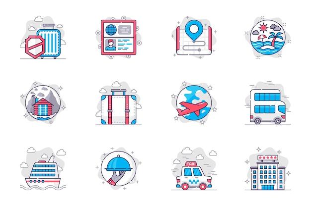 Conjunto de ícones de linha plana de conceito de férias de viagens turismo mundial e recreação para aplicativo móvel