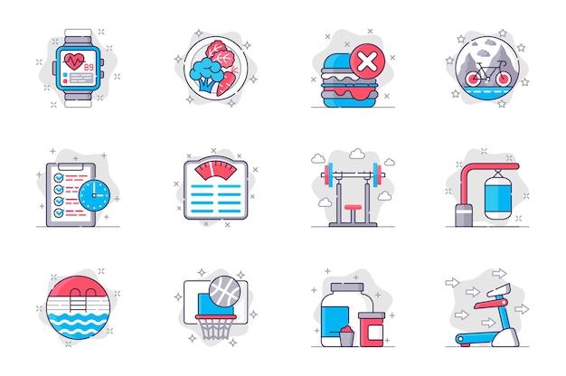 Conjunto de ícones de linha plana de conceito de fitness estilo de vida saudável e atividade esportiva para aplicativo móvel