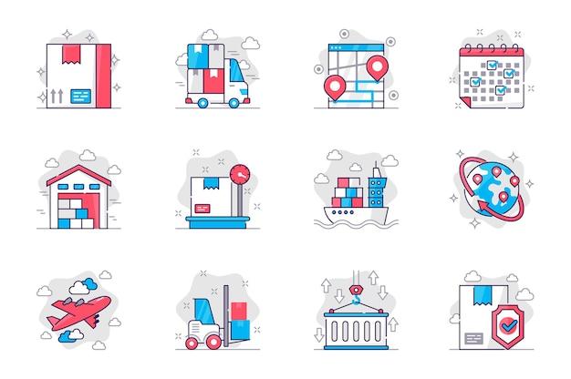Conjunto de ícones de linha plana de conceito de frete serviço de entrega e logística para aplicativo móvel