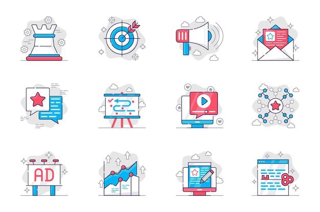 Conjunto de ícones de linha plana de conceito de marketing estratégia de promoção de negócios bem-sucedida para aplicativo móvel