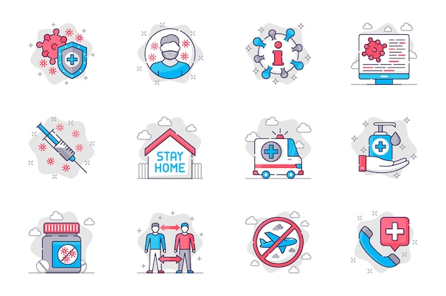 Conjunto de ícones de linha plana de conceito de prevenção de coronavírus vacinação e prevenção de doenças para dispositivos móveis
