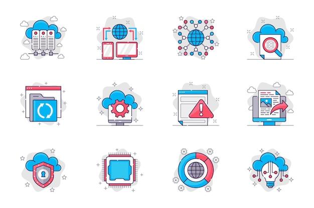 Conjunto de ícones de linha plana de conceito de tecnologia em nuvem armazenamento em nuvem e servidores de banco de dados para aplicativos móveis