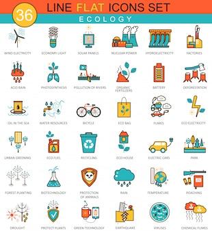 Conjunto de ícones de linha plana de ecologia