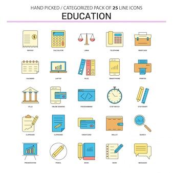 Conjunto de ícones de linha plana de educação