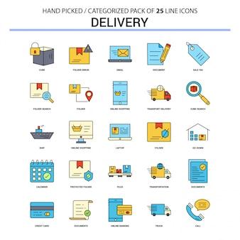 Conjunto de ícones de linha plana de entrega
