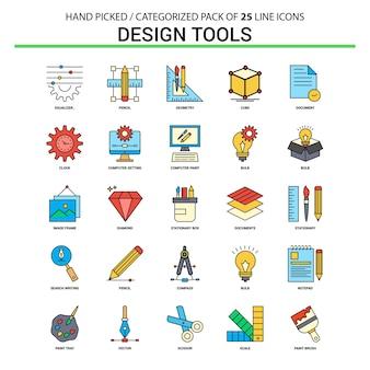 Conjunto de ícones de linha plana de ferramentas de design