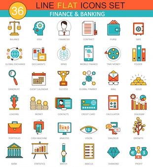 Conjunto de ícones de linha plana de finanças e banca