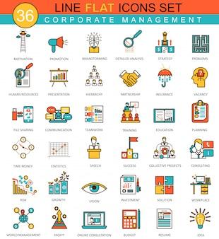 Conjunto de ícones de linha plana de gestão corporativa