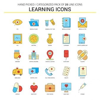 Conjunto de ícones de linha plana de ícones de aprendizagem