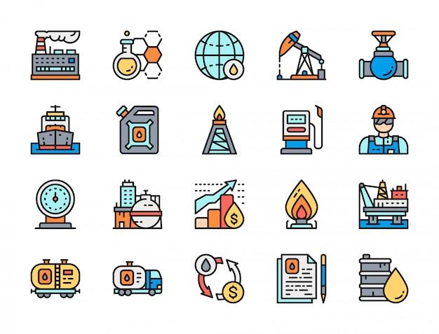 Conjunto de ícones de linha plana de indústria de petróleo. caminhão de combustível, vagão de petróleo e muito mais.