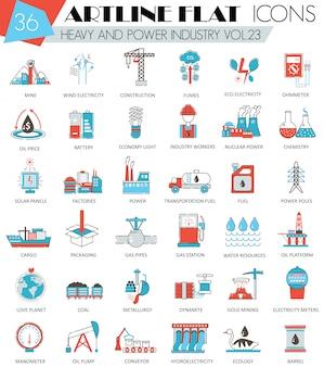 Conjunto de ícones de linha plana de indústria pesada e poder