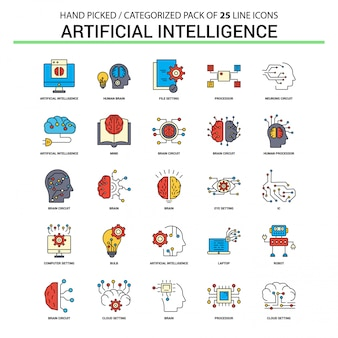 Conjunto de ícones de linha plana de inteligência artificial - design de ícones de conceito de negócio