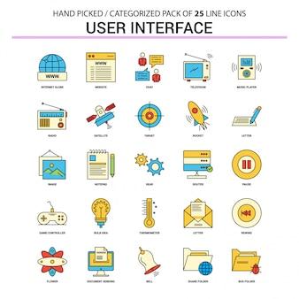 Conjunto de ícones de linha plana de interface de usuário