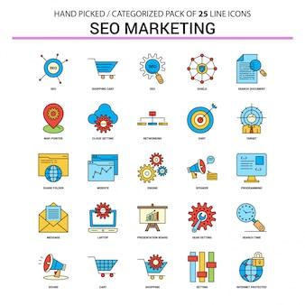 Conjunto de ícones de linha plana de Marketing SEO - Design de ícones de conceito de negócio