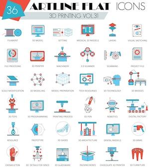 Conjunto de ícones de linha plana de modelagem de impressão 3d