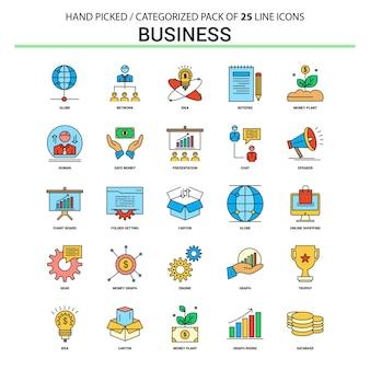 Conjunto de ícones de linha plana de negócios