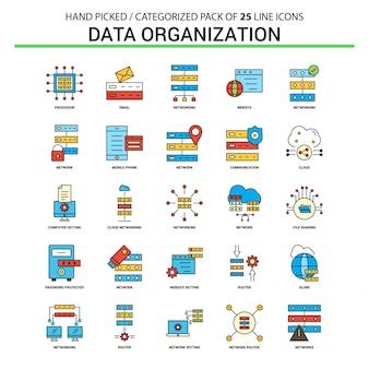 Conjunto de ícones de linha plana de organização de dados