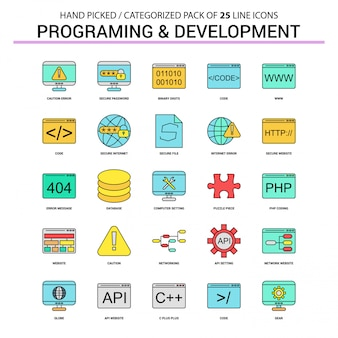 Conjunto de ícones de linha plana de programação e desenvolvimento