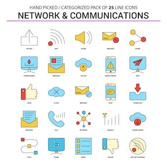 Conjunto de ícones de linha plana de rede e comunicação