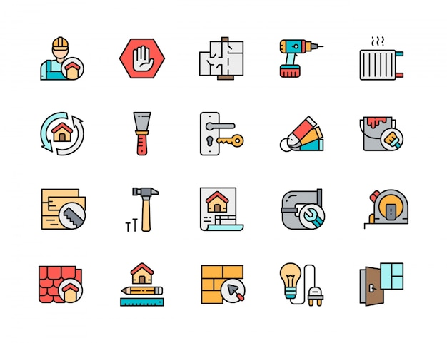 Conjunto de ícones de linha plana de renovação em casa cor. reparador, radiador, espátula