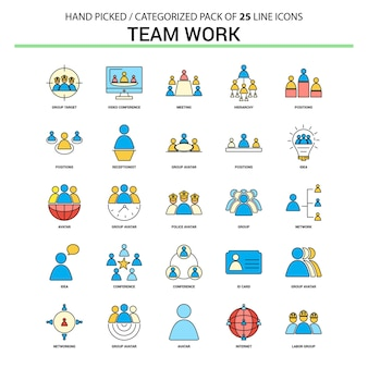 Conjunto de ícones de linha plana de trabalho de equipe
