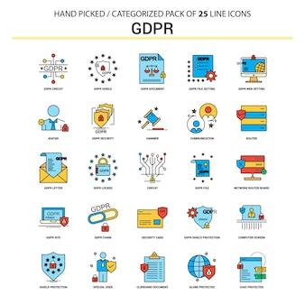 Conjunto de ícones de linha plana gdpr