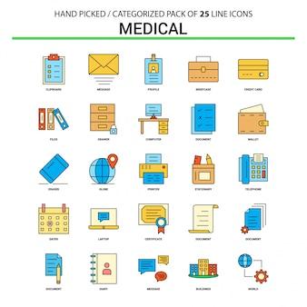 Conjunto de ícones de linha plana médica - projeto de ícones do conceito de negócio