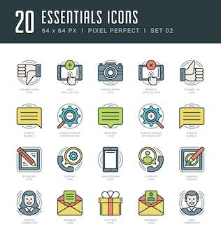 Conjunto de ícones de linha plana. moderno conceito de objetos essenciais essentials de traço linear fino