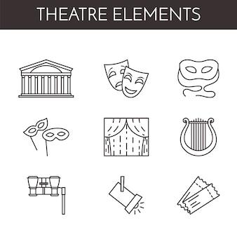 Conjunto de ícones de linha relacionados ao teatro
