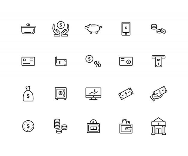 Conjunto de ícones de linha relacionados de dinheiro